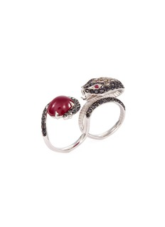 Stephen Webster 'Burma' diamond ruby 18k white gold snake two finger ring