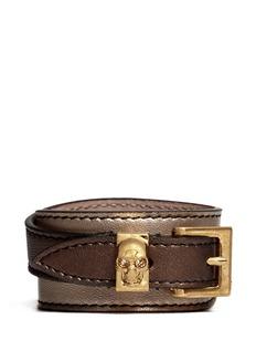 ALEXANDER MCQUEENDouble wrap skull metallic leather bracelet