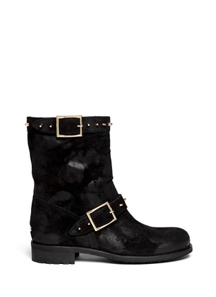 Main View - Click To Enlarge - Jimmy Choo - 'Dash' stud coated suede biker boots