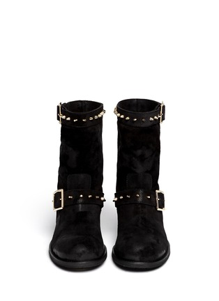 Figure View - Click To Enlarge - Jimmy Choo - 'Dash' stud coated suede biker boots