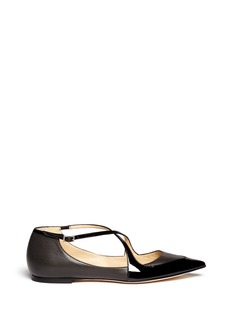 JIMMY CHOO 'Gamble' cross strap leather flats