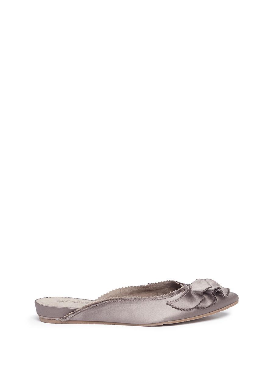 Alia ruffled satin slippers by
