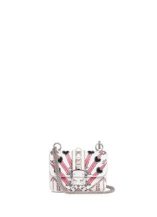 Main View - Click To Enlarge - Valentino - 'Rockstud Lock' mini Love Blade embellished shoulder bag