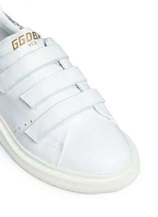 Detail View - Click To Enlarge - Golden Goose - 'Smash' glitter collar leather kids sneakers