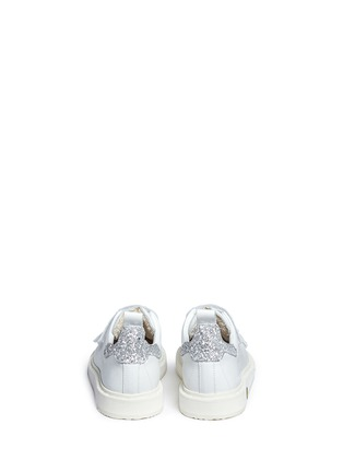 Back View - Click To Enlarge - Golden Goose - 'Smash' glitter collar leather kids sneakers