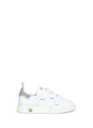 Main View - Click To Enlarge - Golden Goose - 'Smash' glitter collar leather kids sneakers