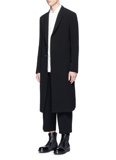 The Viridi-anne Peaked lapel long cotton coat