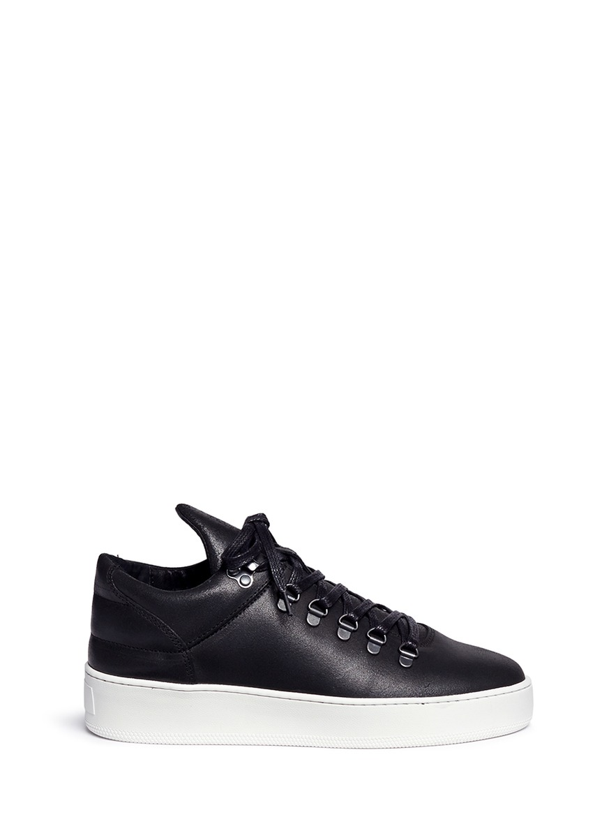 Mountain Cut waxed leather sneakers by Filling Pieces