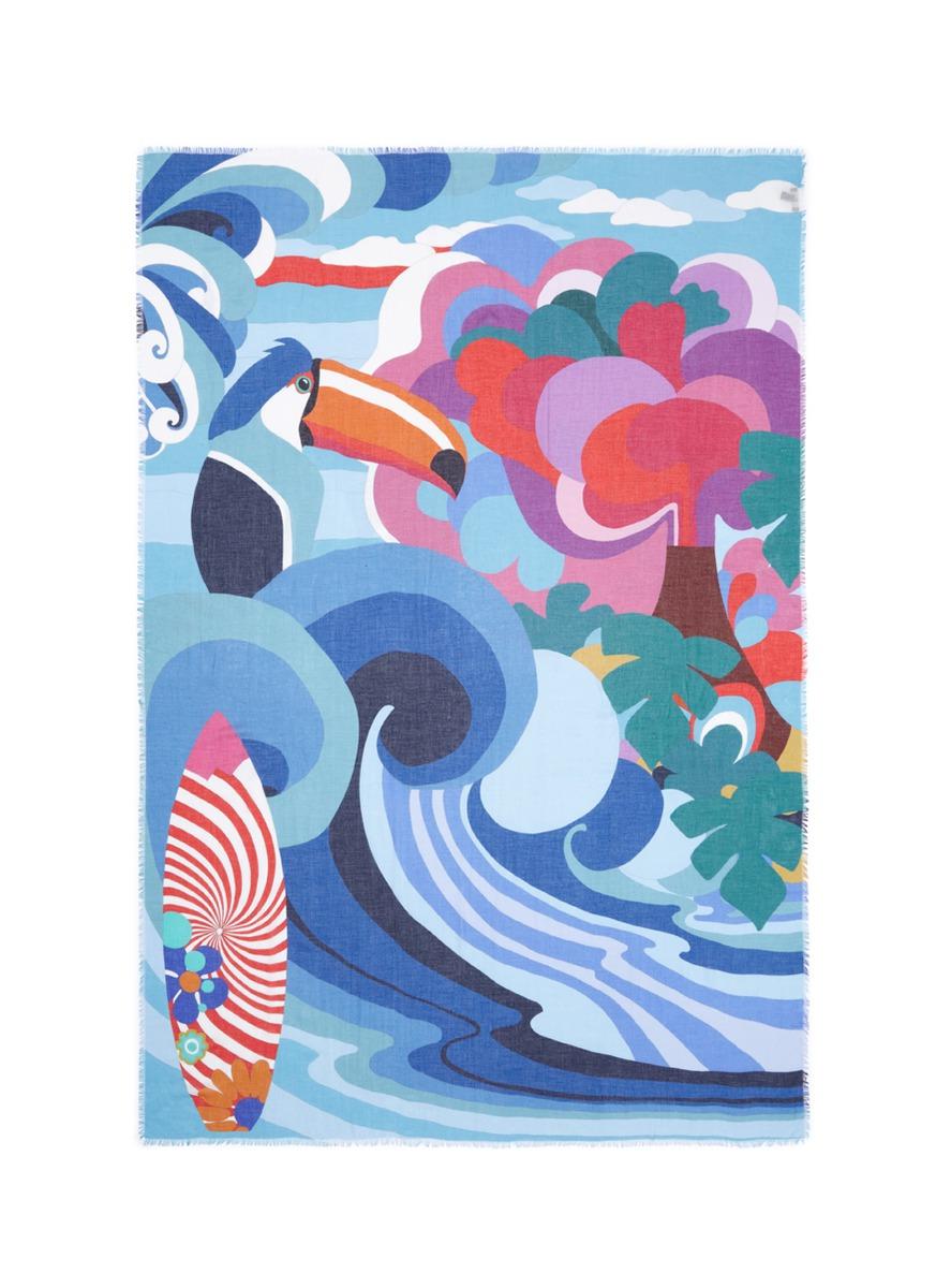 Danao toucan surfboard print silk-modal scarf by Franco Ferrari