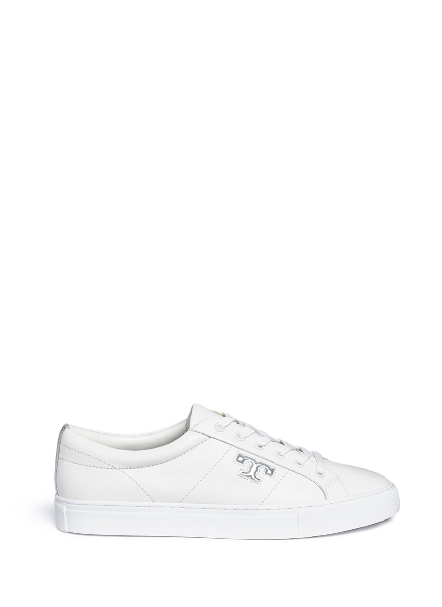 Chace logo leather sneakers by Tory Burch