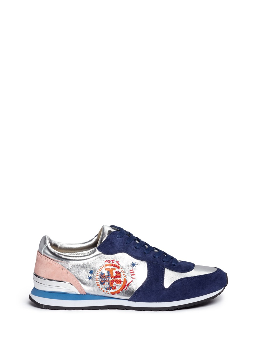 Brielle ethnic logo stitched metallic leather sneakers by Tory Burch
