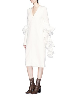Ellery 'Molotov' ruffle sleeve crepe shift dress