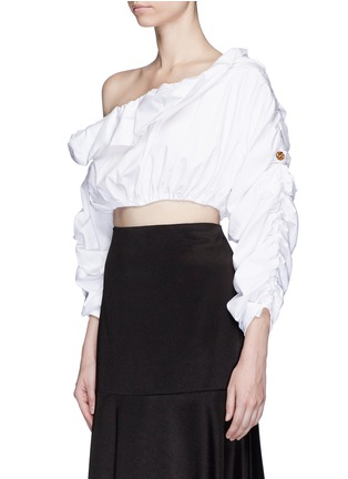 Front View - Click To Enlarge - Ellery - 'Third Degrees' asymmetric off-shoulder ruffle cropped top