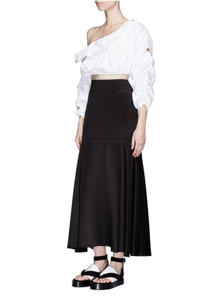 Figure View - Click To Enlarge - Ellery - 'Third Degrees' asymmetric off-shoulder ruffle cropped top