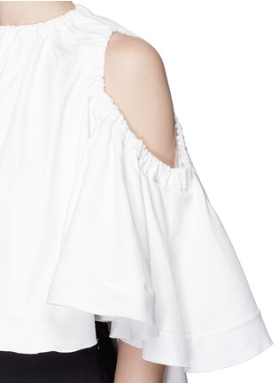 Detail View - Click To Enlarge - Ellery - 'Baby' cold shoulder cropped ruffle top