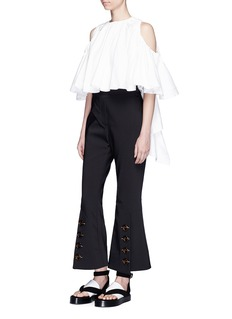 Ellery'Baby' cold shoulder cropped ruffle top