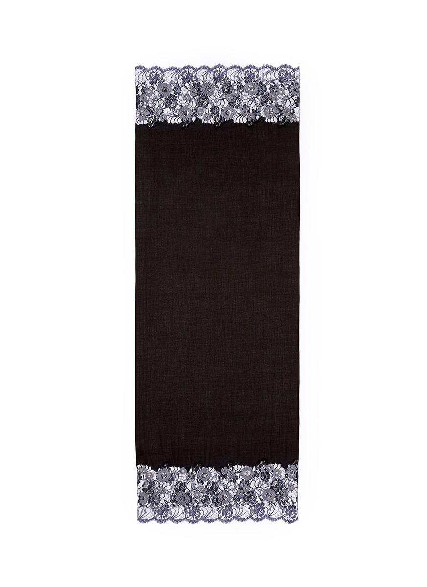 Floral embroidered ombré lace trim cashmere scarf by Janavi