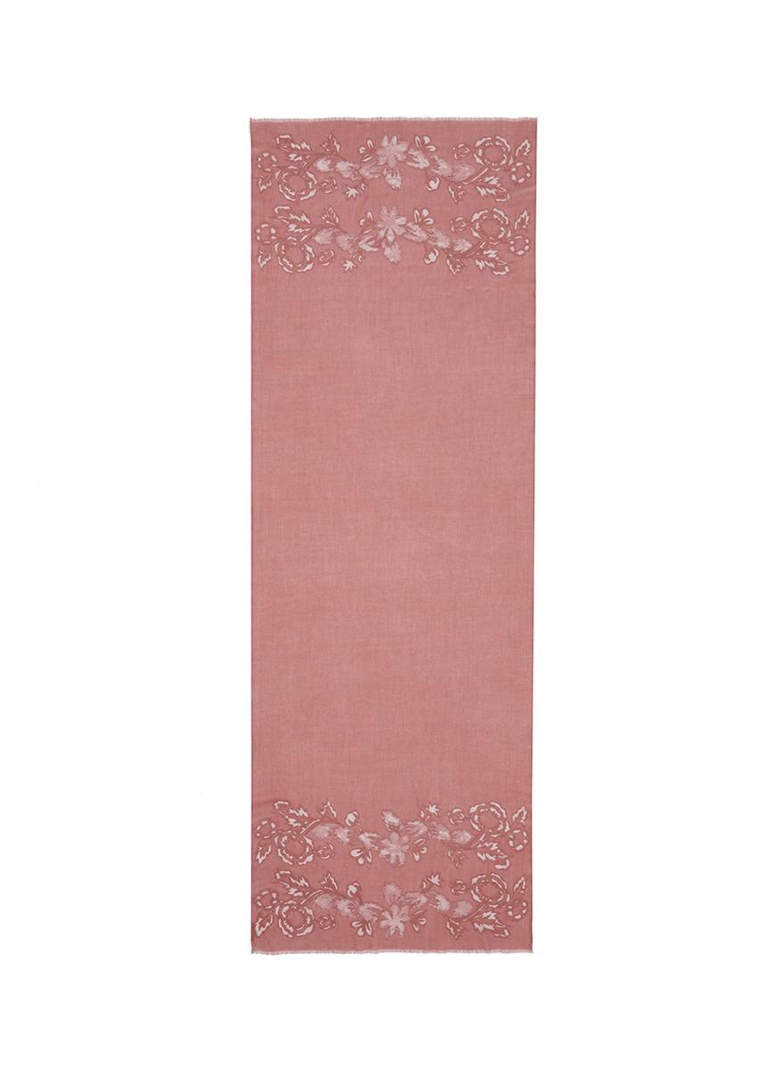 Floral lace insert cashmere scarf by Janavi