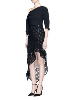 Maticevski'Proficient' grid yarn asymmetric structured skirt