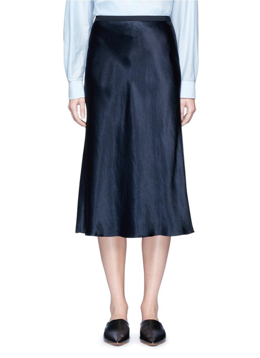 Elastic waist satin slip skirt by Vince