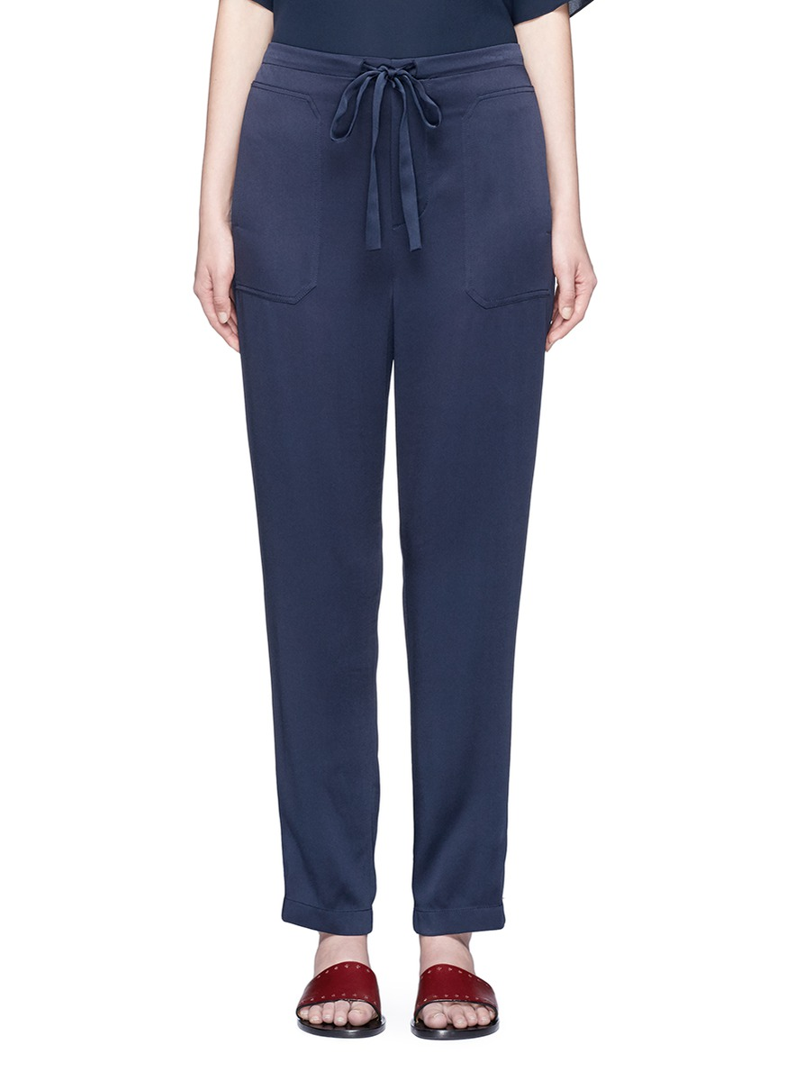 Drawstring waist satin pants by Vince