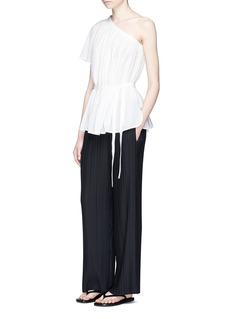 Helmut LangOne-shoulder belted cotton guaze top