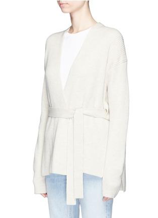 Front View - Click To Enlarge - Helmut Lang - Belted side split wool-cashmere cardigan