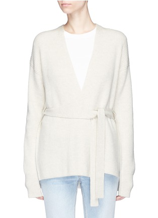 Main View - Click To Enlarge - Helmut Lang - Belted side split wool-cashmere cardigan