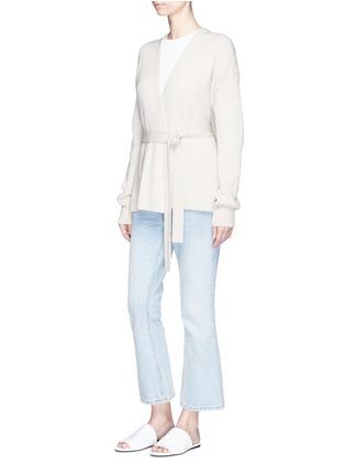 Figure View - Click To Enlarge - Helmut Lang - Belted side split wool-cashmere cardigan