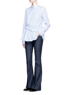 VICTORIA, VICTORIA BECKHAMRuffle waist stripe poplin shirt