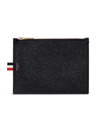 Main View - Click To Enlarge - Thom Browne - Pebble grain leather large zip coin pouch