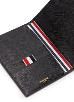 条纹罗缎装饰粒面真皮护照夹