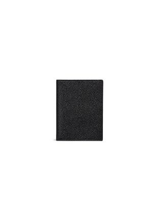 THOM BROWNE-条纹罗缎装饰粒面真皮护照夹