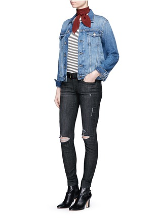 Figure View - Click To Enlarge - Frame Denim - 'Le Skinny de Jeanne' ripped knee jeans