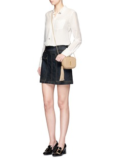 Frame Denim 'Le Mini' pocket denim A-line skirt