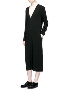 Ms MINV-neck textured crepe midi dress