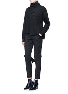 Ms MINAsymmetric rib knit turtleneck sweater