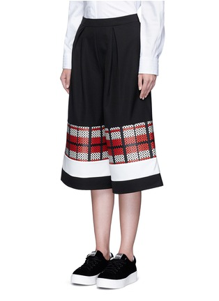 Front View - Click To Enlarge - Cynthia & Xiao - Textured tartan colourblock culottes