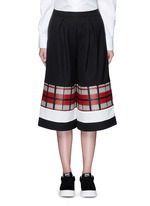 Textured tartan colourblock culottes