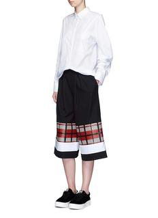 CYNTHIA & XIAOTextured tartan colourblock culottes