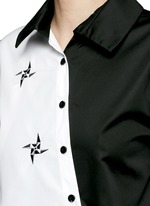 Embroidered windmill colourblock asymmetric front shirt