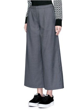 Front View - Click To Enlarge - Cynthia & Xiao - Wide leg wool blend cropped pants