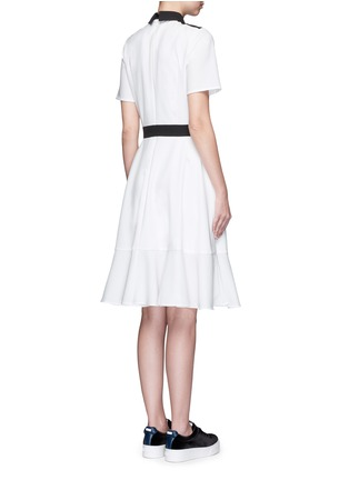 Back View - Click To Enlarge - Cynthia & Xiao - Woven ribbon front flounce hem shirt dress