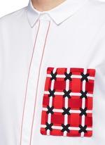 Woven ribbon pocket long cotton shirt dress