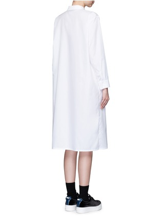 Back View - Click To Enlarge - Cynthia & Xiao - Woven ribbon pocket long cotton shirt dress