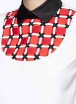 Woven ribbon bib sleeveless cotton shirt