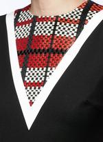 Textured tartan print V-neck flared dress