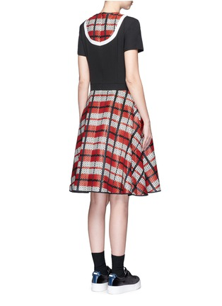Back View - Click To Enlarge - Cynthia & Xiao - Textured tartan print V-neck flared dress