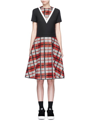 Main View - Click To Enlarge - Cynthia & Xiao - Textured tartan print V-neck flared dress