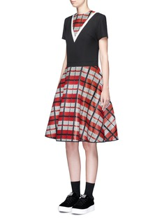 CYNTHIA & XIAOTextured tartan print V-neck flare dress